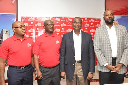(L-R) Director: Corporate Communications & CSR, Emeka Oparah; Director: Legal Affairs & Company Secretary, Gbenga Rotimi; Chief Executive Officer & Managing Director, Segun Ogunsanya and Director: Human Resources & Administration, Jubril Saba, all of Airtel Nigeria, at the company's launch of Airtel Touching Lives, a Revolutionary CSR programme, today at the Wheatbaker, Ikoyi, Lagos