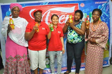 L-R; Distributor; Myer Fruit Drink; Mrs. Sariat Bakare; Sole Distributor, Mayer Industries Limited, Mrs. Aisha Funsho; Field Marketing Manager, Myer Industries Limited, Vera Ye; Distributor, Myer Fruit Drink, Mrs. F.T. Ogunyemi and another Distributor of the product,Mrs. Joy Onatoyinbo, during the media launch