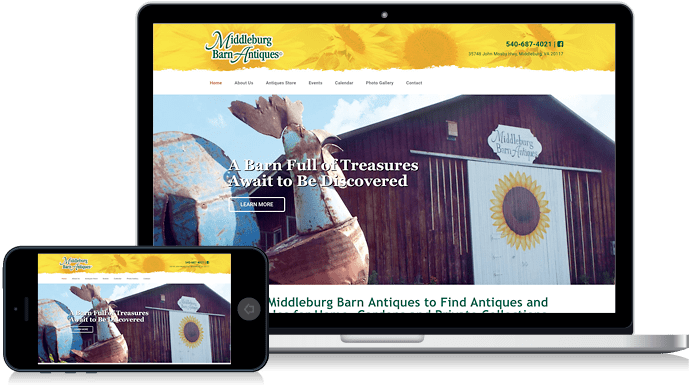 Middleburg Barn Market in Virginia antiques website design