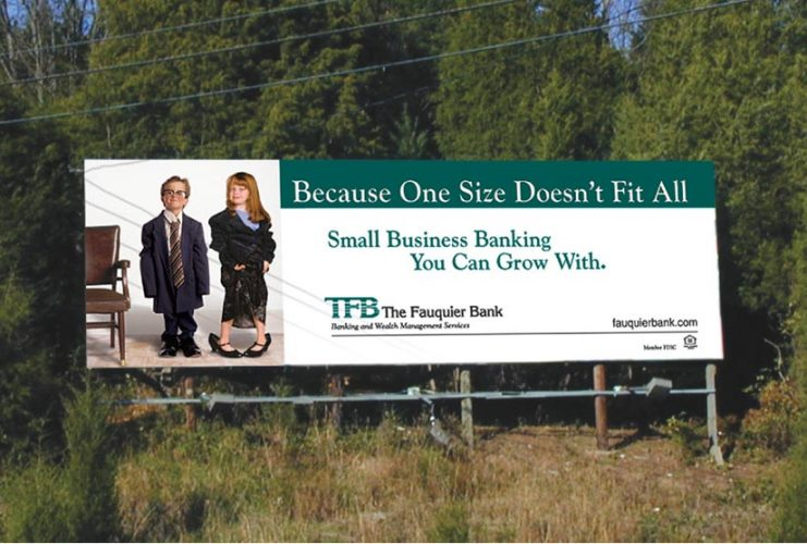 photo of billboard for The Fauquier Bank in Warrenton VA