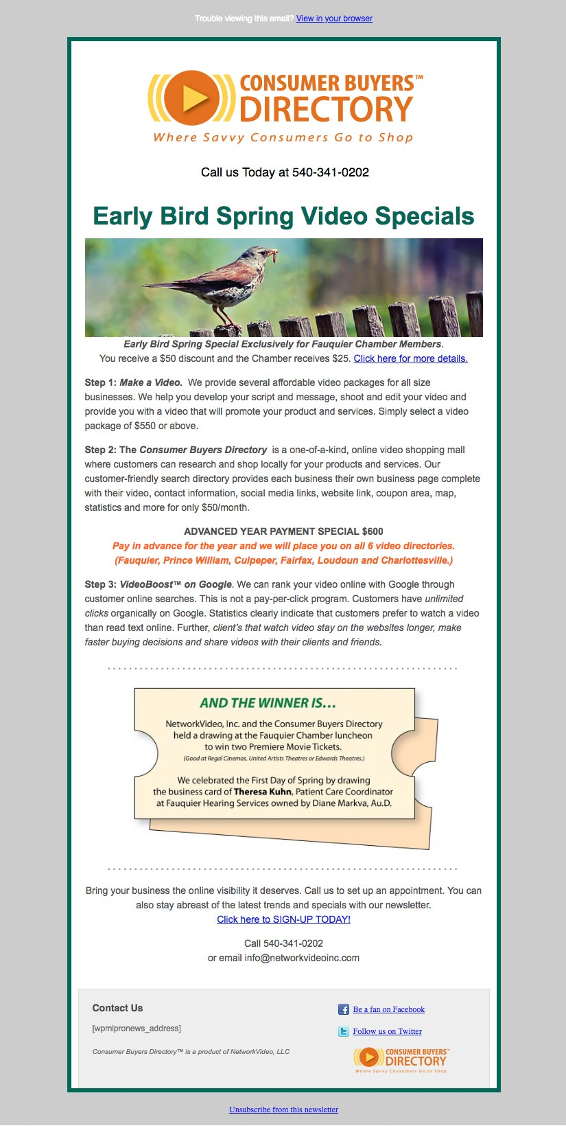 Email ad for NetworkVIdeo, LLC in Warrenton VA