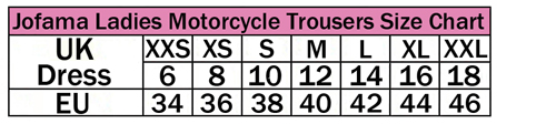Sizing chart for Jofama Ladies Motorcycle jackets