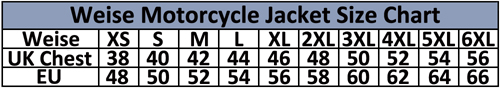 Weise Textile Motorcycle Jacket Size Chart