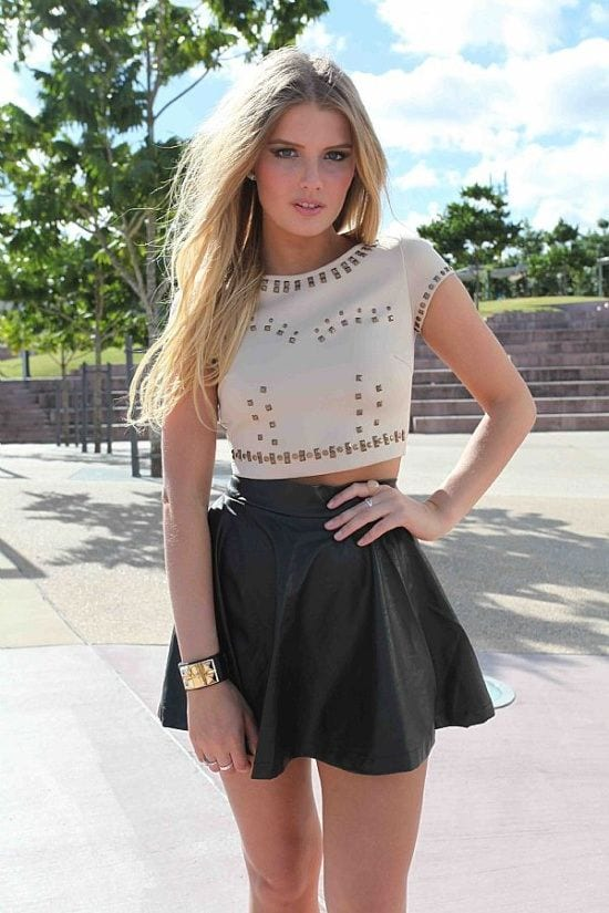 Black And Top And White Skirt And White Crop Black