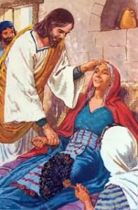 Jeesus parantaa Pietarin anopin.