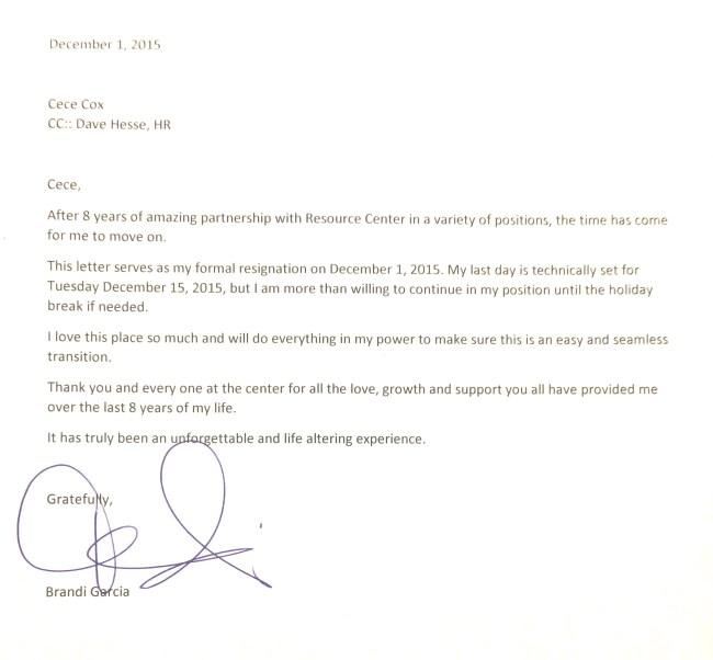 Brandi Amara Skyy resignation letter December 2015