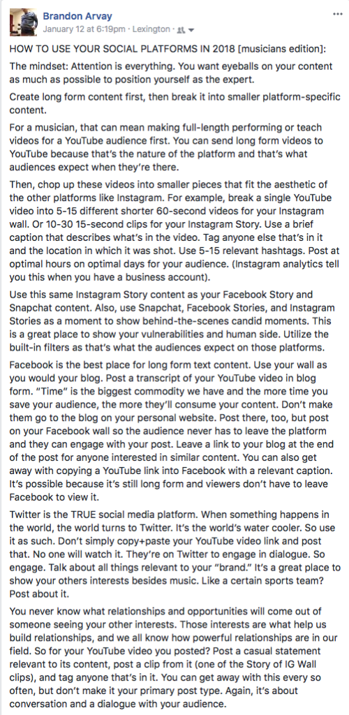 Social platform blog entry on FB