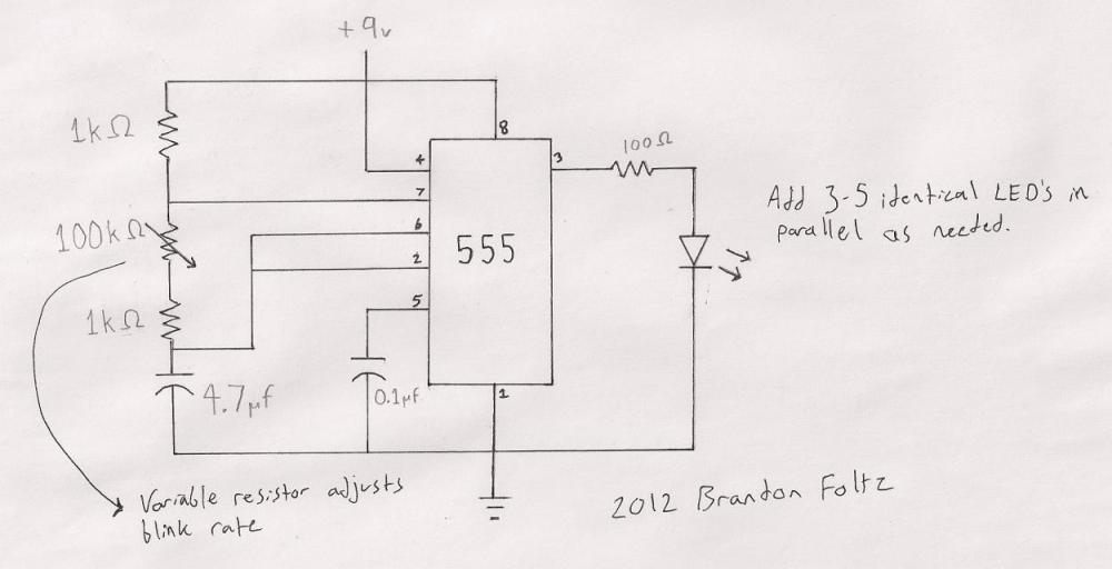medium resolution of 555 blinking led schematic