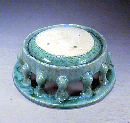Green Glazed Pottery Ink Stone, Tang Dynasty
