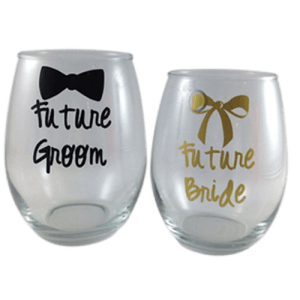 couple glass with printing