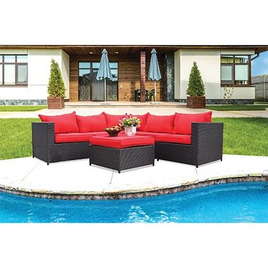 castell brown wicker patio sectional with ottoman