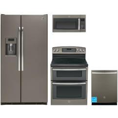 Slate Kitchen Appliance Package Ikea Rack Ge Complete - Gzs22dmjes ...