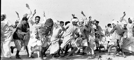 Refugees of the 1947 India-Pakistan Partition participating in a race at a refugee camp