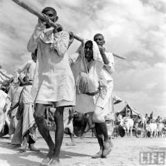 Two men carrying their mother whilst migrating from India
