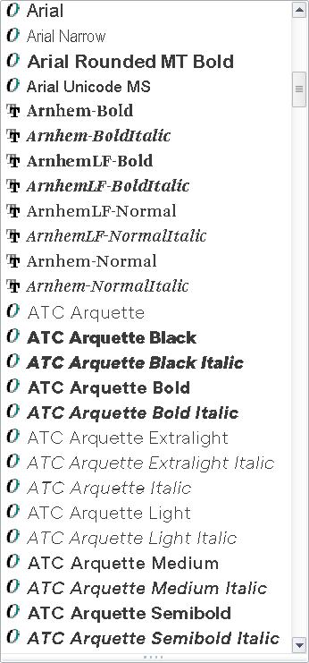 Choosing Fonts for Office - Windows Font Menu
