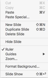 Notes Page Context Menu in MacOS