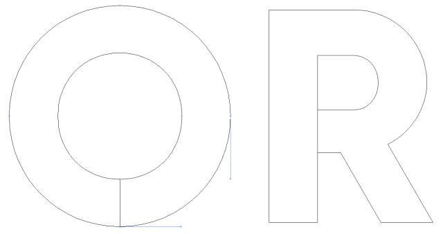 De-compounded letter shapes