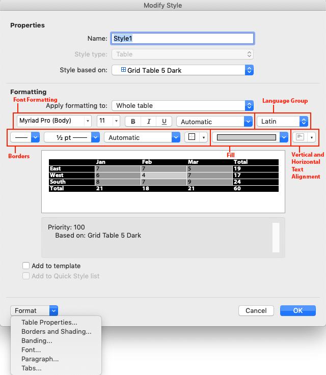 Word Table Styles Formatting Options