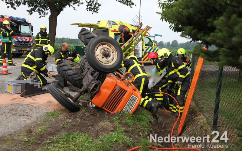 Beknelling onder tractor