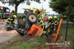 Man met voet onder tractor Schiknelsweg