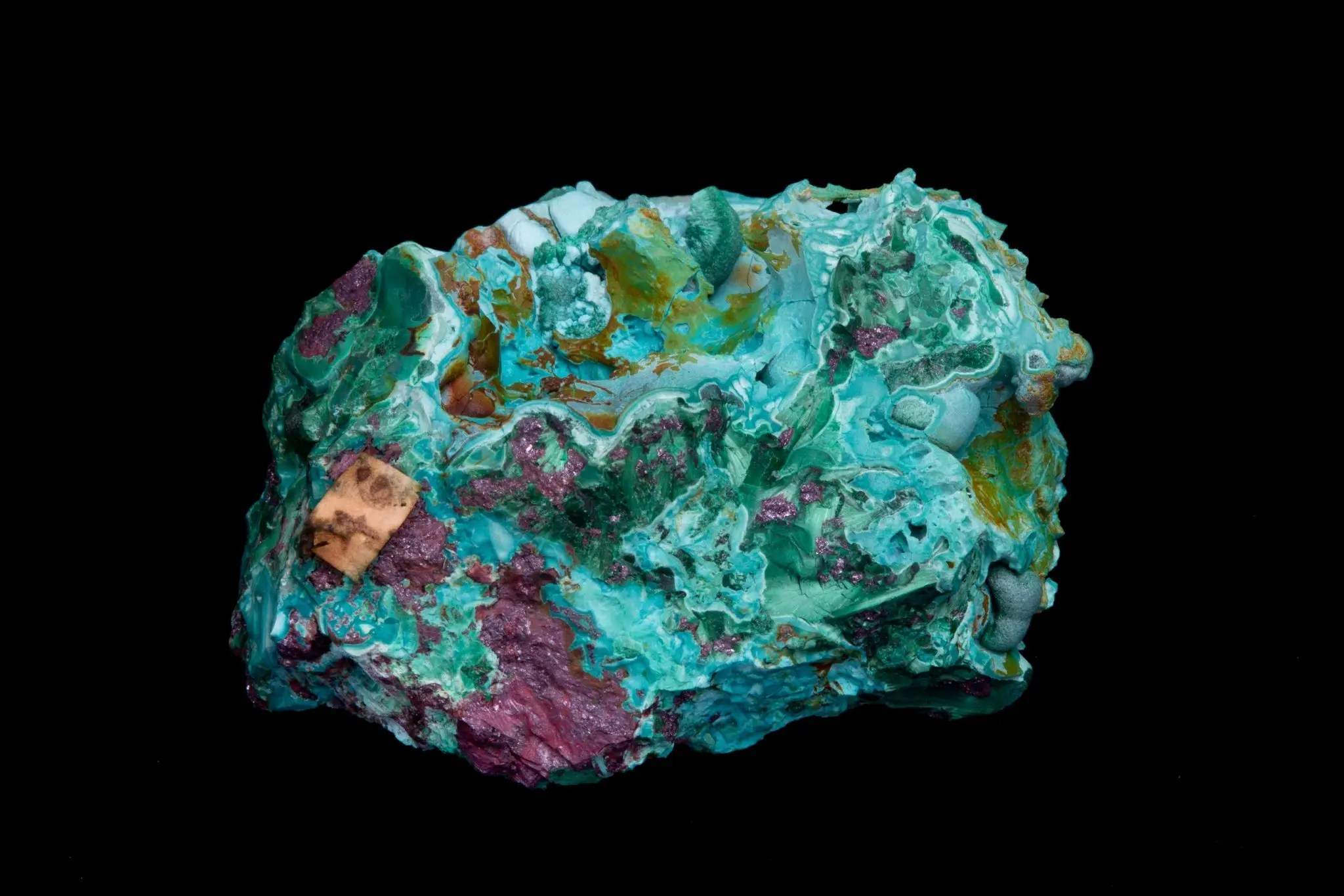 Chrysocolla with Malachite and Cuprite from Brantwood's collection