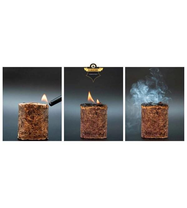 Proceso de quemado de Foodie power blocks de Madera Natural para Ahumar