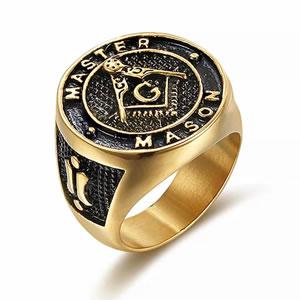Anel aço gold master venerável luxo