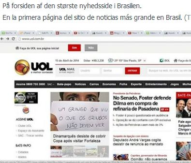 Mikkel Keldorf publicó varias capturas de pantalla de su propia noticia recogida en los medios de Brasil.