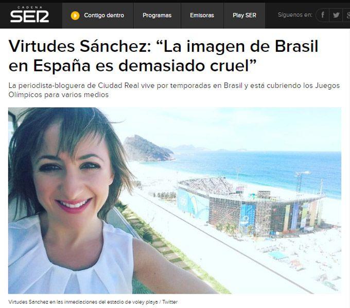 Virtudes Sánchez, autora de Brasil Más Que Fútbol, en la cadena SER.