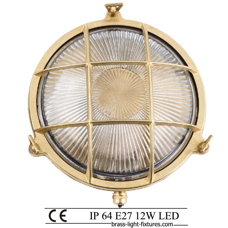 nautical lighting bulkhead outdoor ceiling wall light art br403 brass ip64 12w