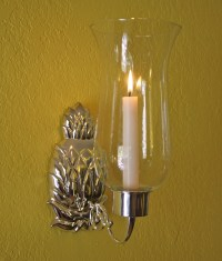 Pineapple Hurricane Sconce, Silver