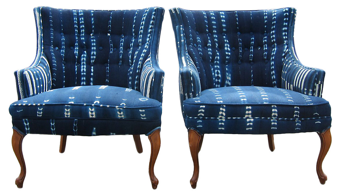African Indigo Arm Chairs