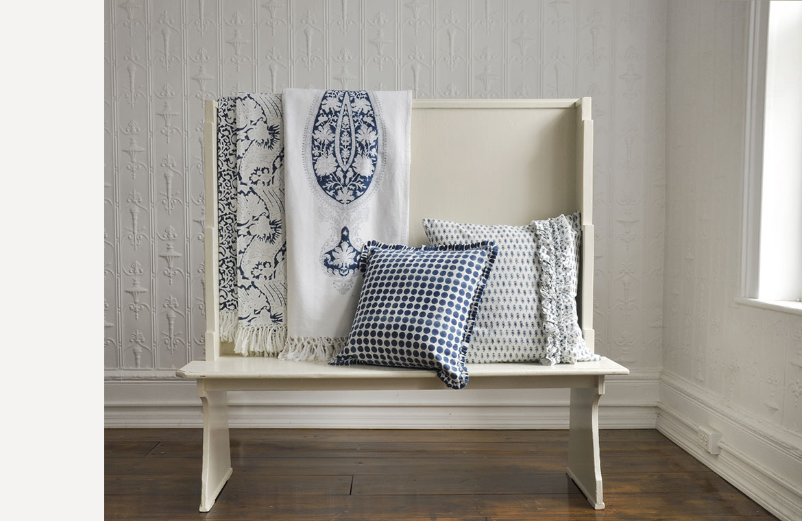 Client Inspiration: Block Print Bench Scene