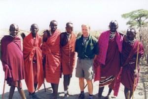 Cyril with masai men in Kenya