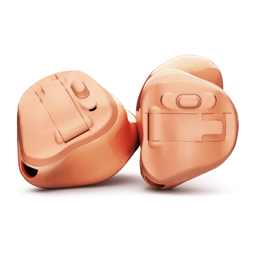 Phonak Virto Marvel Hörgeräte Paar in pink freigestellt