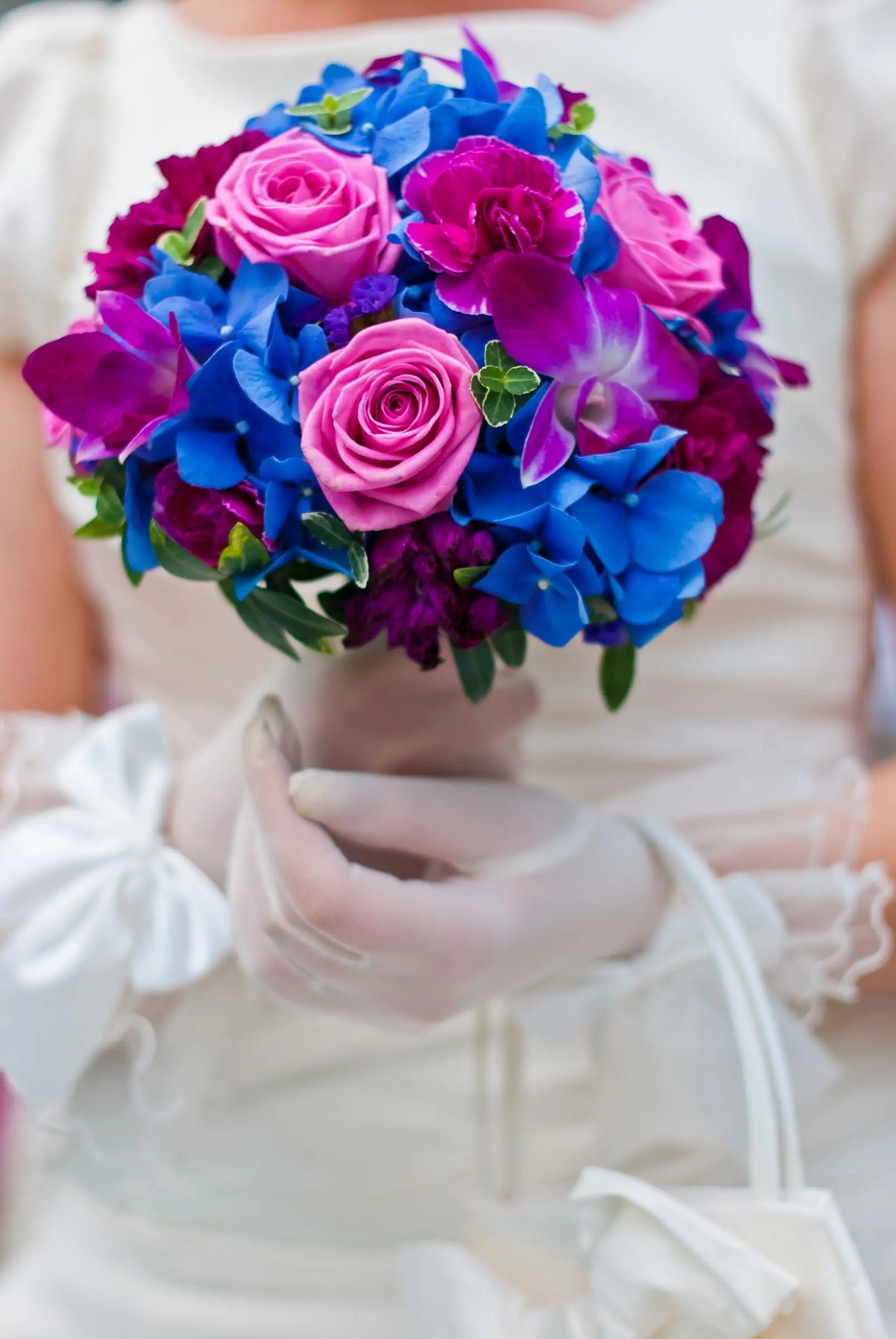 Brautstrau in Blau und Rosa  Heiraten mit brautde