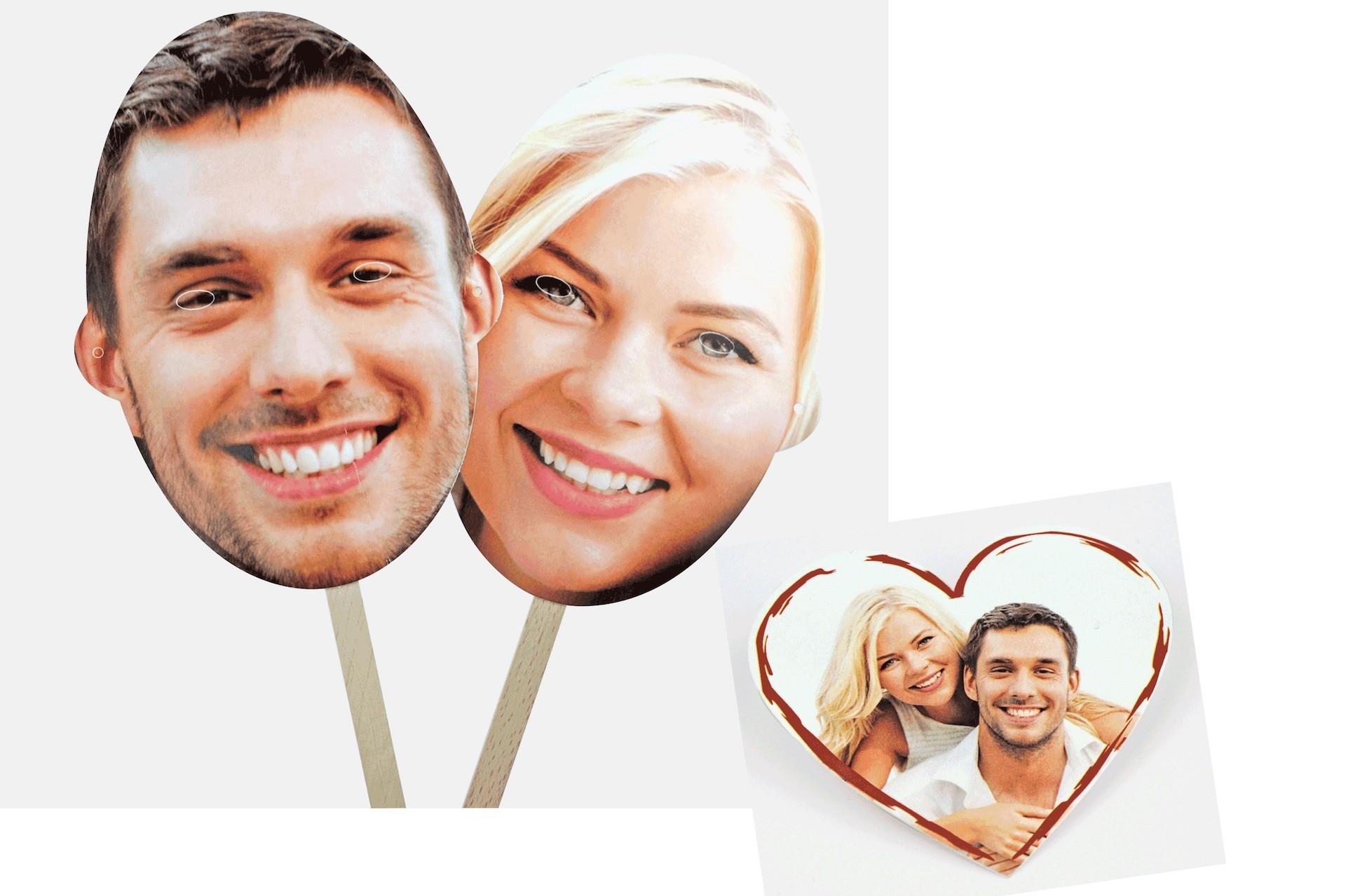 Witzige Fotomasken als berraschung frs Brautpaar