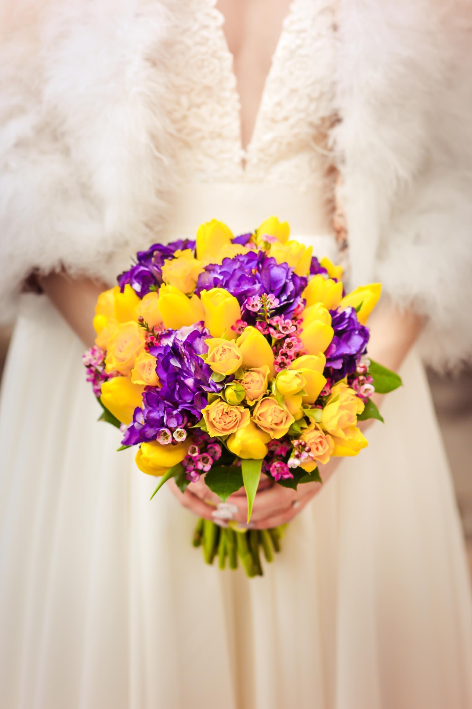 Brautstrau in Gelb und Lila  Heiraten mit brautde