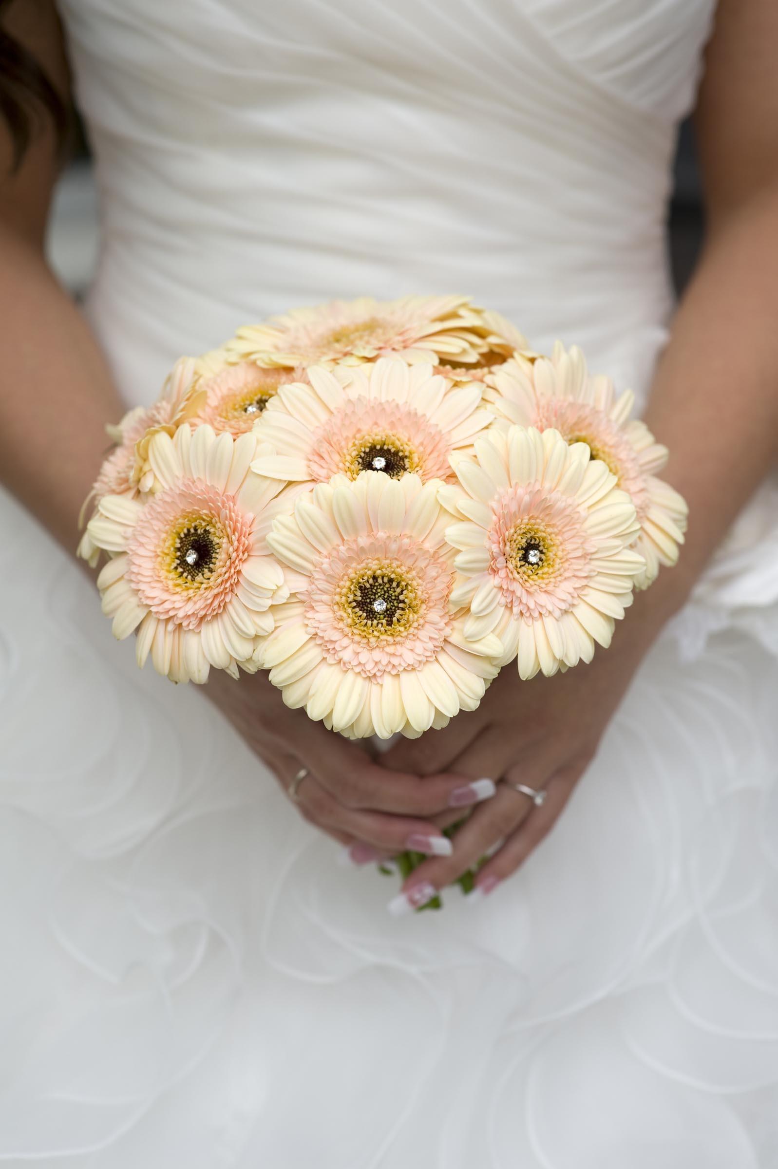 Brautstrau aus cremefarbenen Gerbera  Heiraten mit brautde