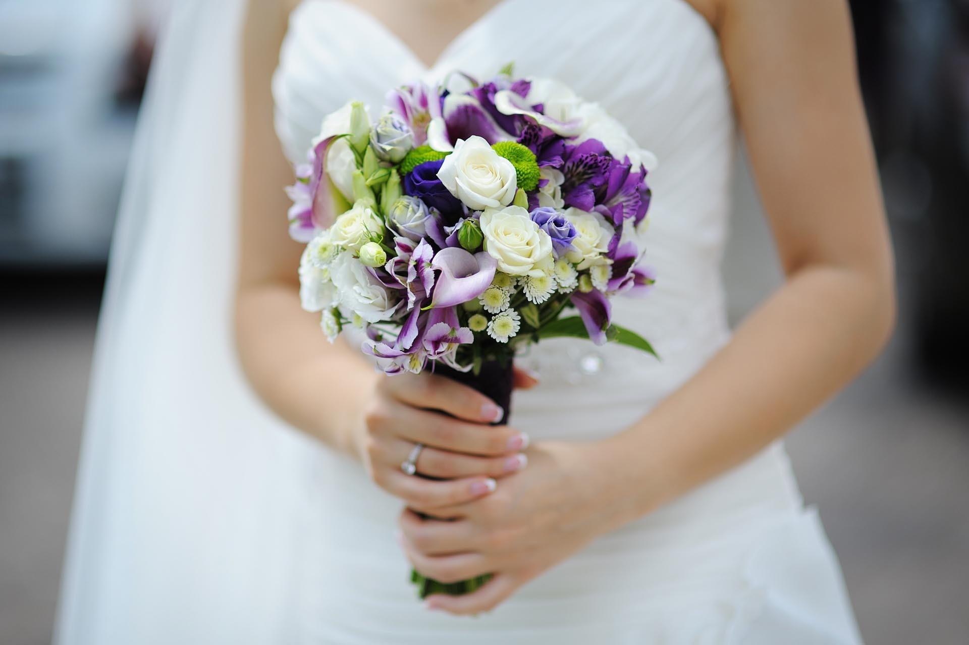 Brautstrau in Lila und Wei  Heiraten mit brautde