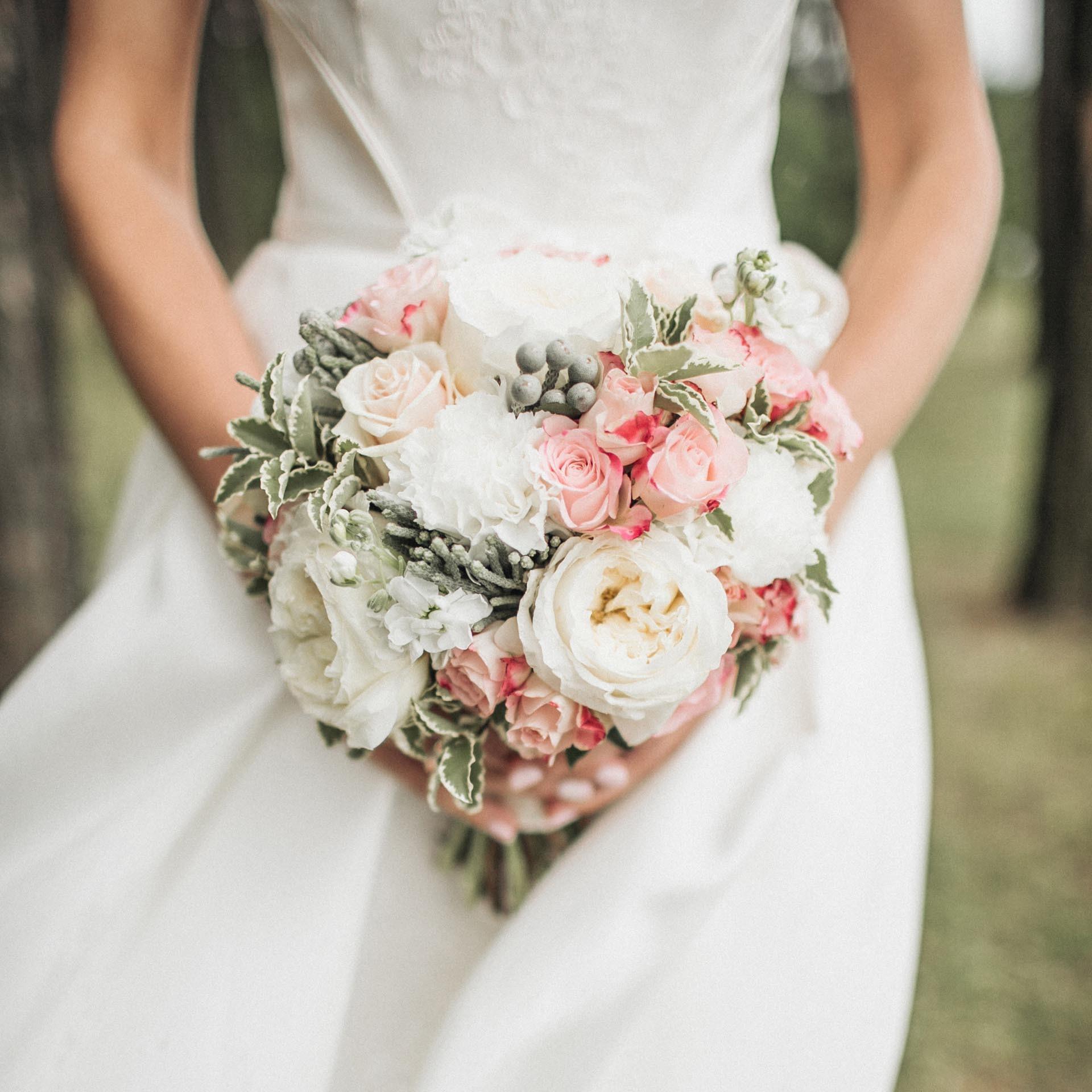 moderner Brautstrau in Wei und Rosa  Heiraten mit brautde