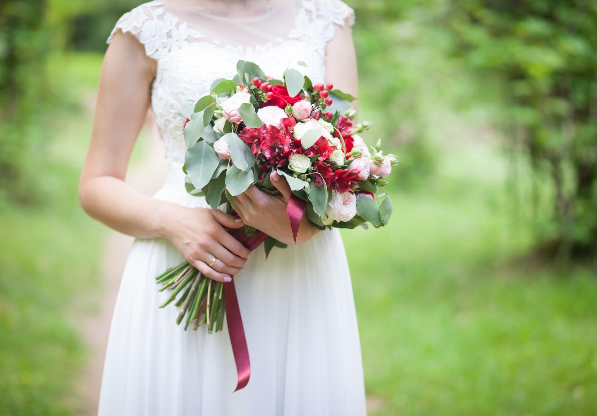 Brautstrau in Rot und Grn  Heiraten mit brautde