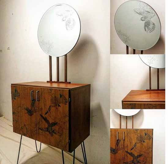 mini sideboard with etched