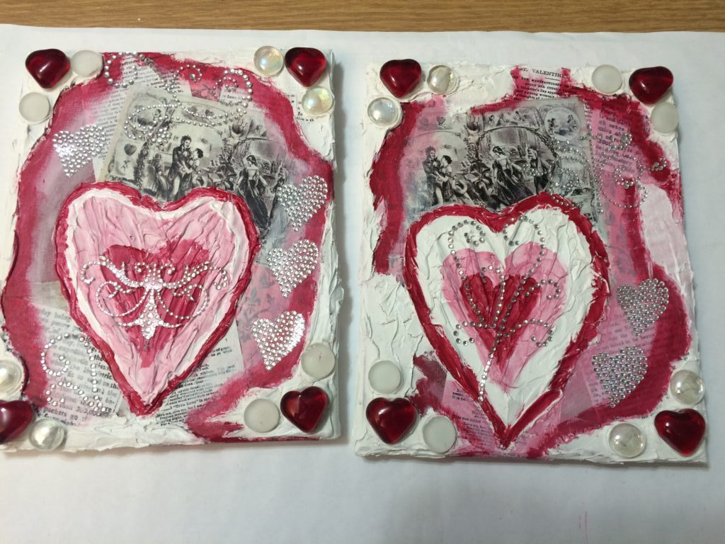 completed DIY Valentine's Day mixed media hearts
