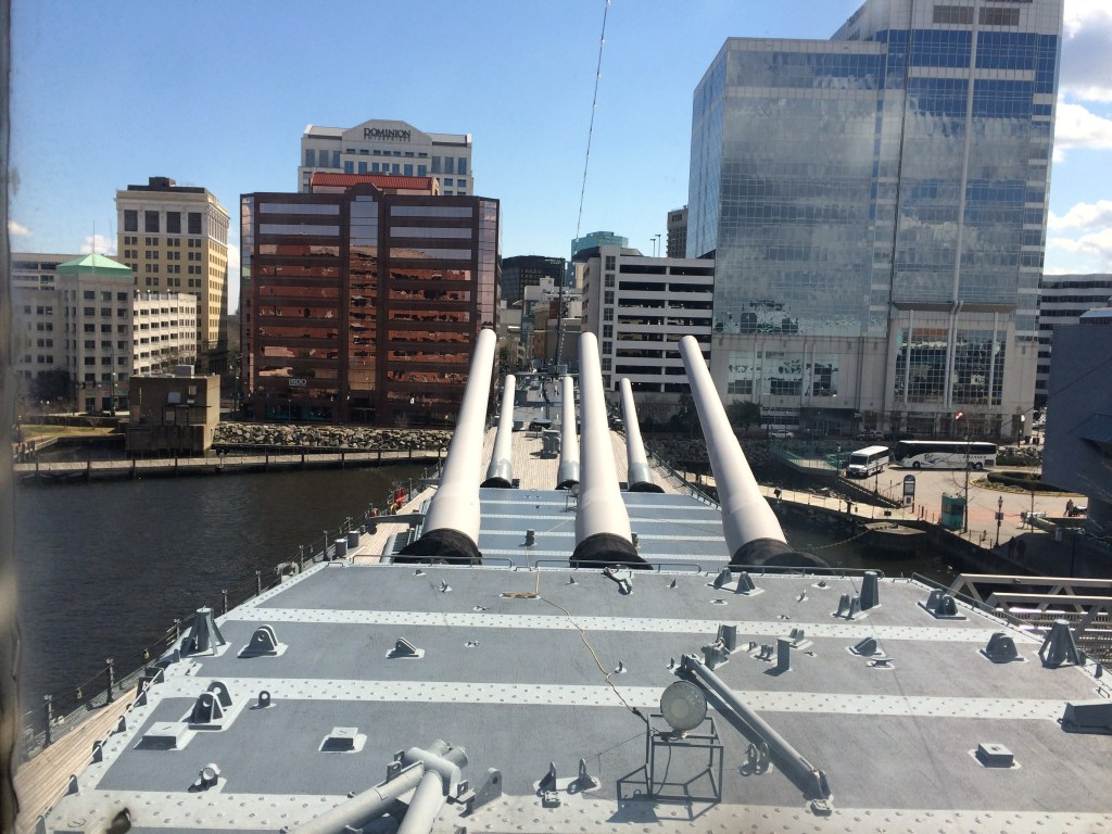 Conning Deck view toward Bow on USS Wisconsin