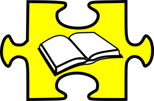 yellow puzzle piece with book inside