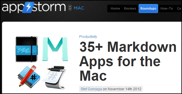 Screenshot from appstorm.com article 35+ Markdown Apps for the Mac