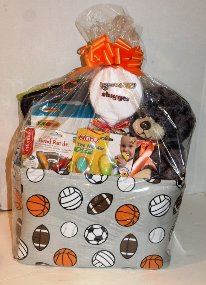 Custom gift basket for new baby boy