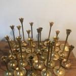 28 Vintage Brass Candlestick Candleholders Graduated Tarnished Candle Holders Wedding Decor Mid Century Modern Wedding Decoration Bravobride