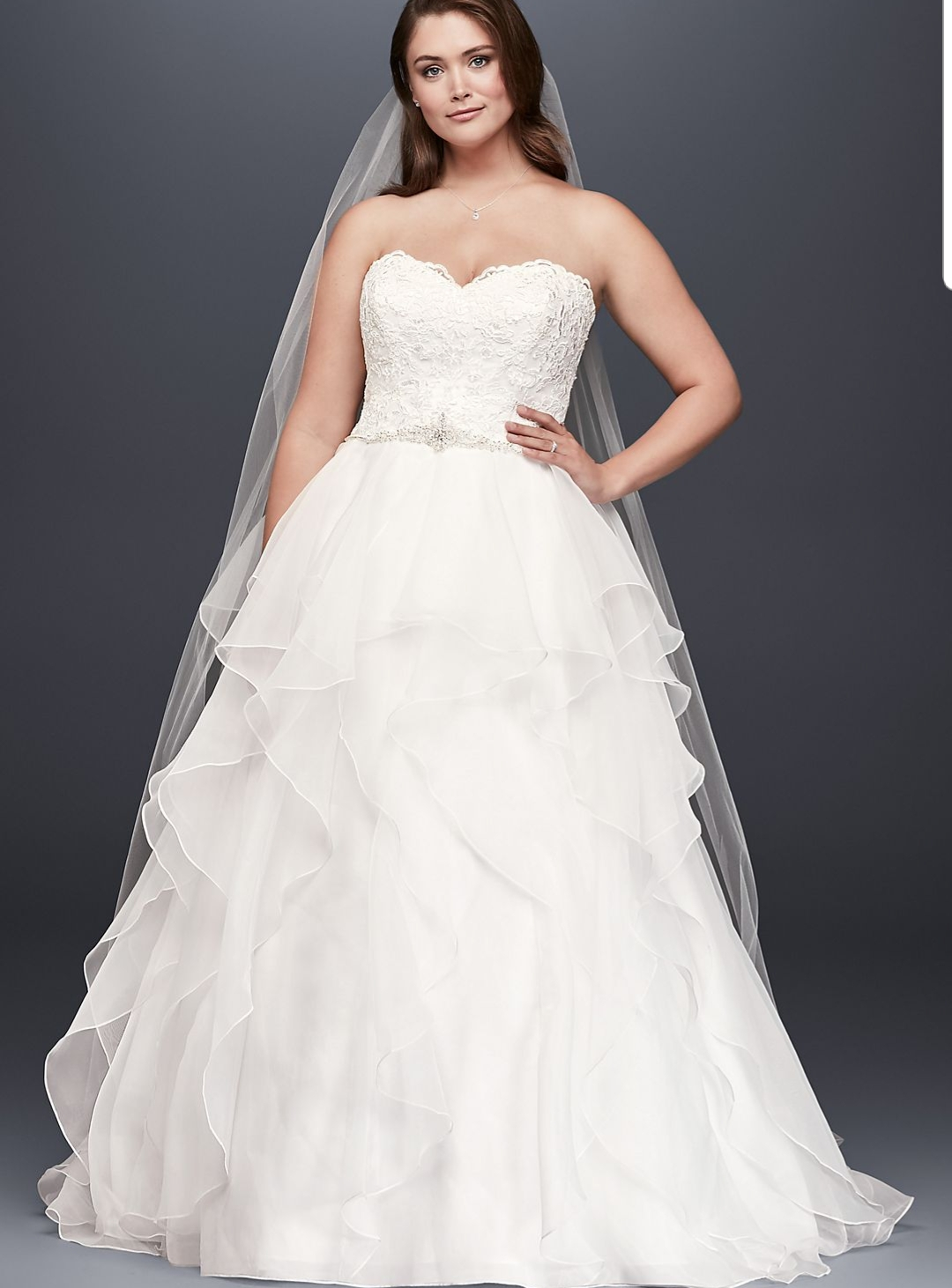 Davids Bridal  Lace And Organza Gown Wedding Dress